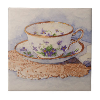 5322 Teacup on Lace Ceramic Tile
