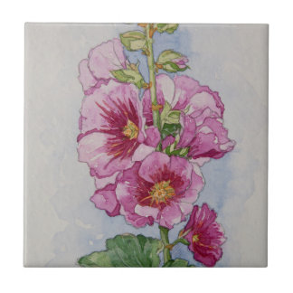 5334 Pink Hollyhocks Ceramic Tile