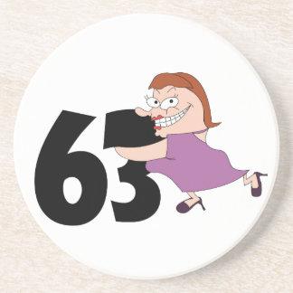 53rd birthday gifts - Funny cartoon birthday Sandstone Coaster