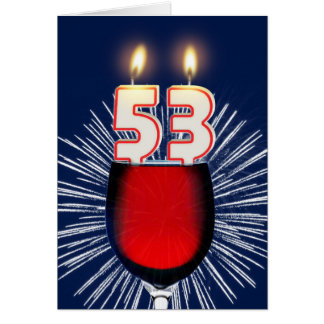 53rd Birthday with wine and candles Card