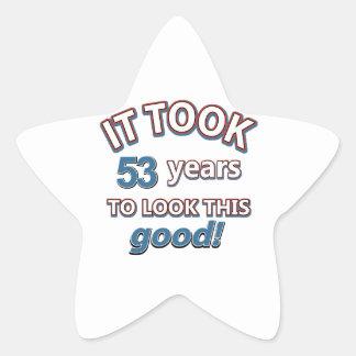 53rd year birthday designs star sticker