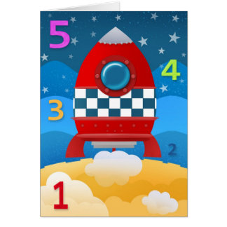 54321 blast off - greeting card