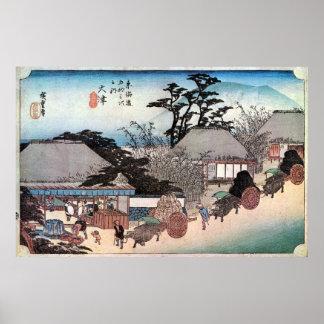 54. 大津宿, 広重 Ōtsu-juku, Hiroshige, Ukiyo-e Poster