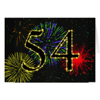 54th Birthday card with fireworks