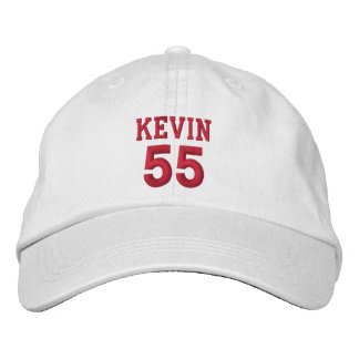 55 Birthday Custom Name Red Embroidery V12 Embroidered Hat
