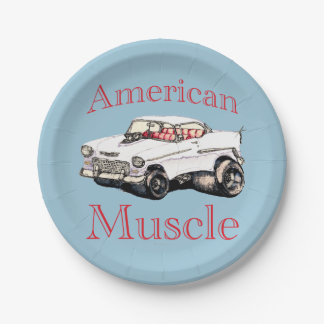 55 chevy American Muscle 7 Inch Paper Plate