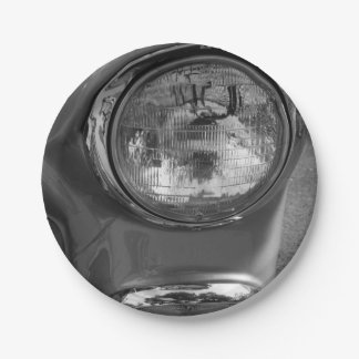 55 Chevy Headlight Grayscale 7 Inch Paper Plate