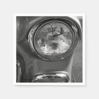 55 Chevy Headlight Grayscale Disposable Napkins