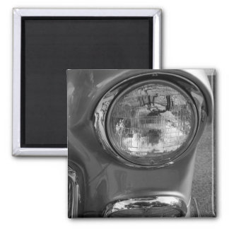 55 Chevy Headlight Grayscale Square Magnet
