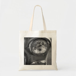 55 Chevy Headlight Grayscale Tote Bag