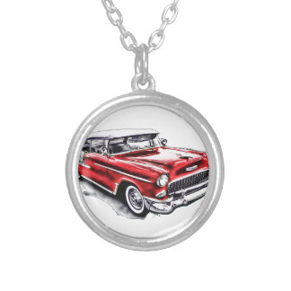 55 Chevy Silver Plated Necklace