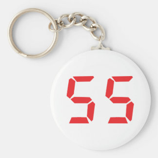 55 fifty-fife red alarm clock digital number basic round button key ring