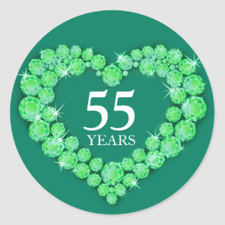 55 years emerald anniversary heart sticker