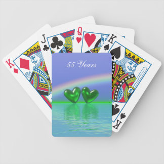 55th Anniversary Emerald Hearts Bicycle Playing Cards