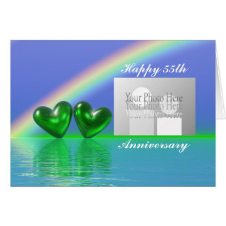 55th Anniversary Emerald Hearts (for photo) Greeting Card