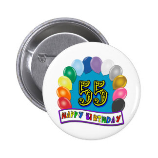 55th Birthday Balloons Design 6 Cm Round Badge