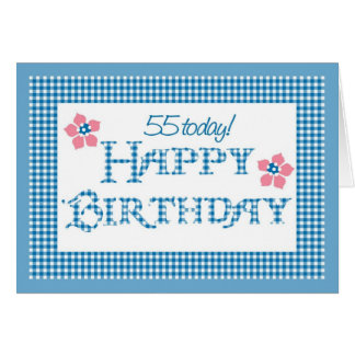 55th Birthday, Blue Check Gingham Pattern Card