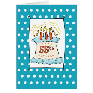 55th Birthday Cake on Blue Teal with Dots Card