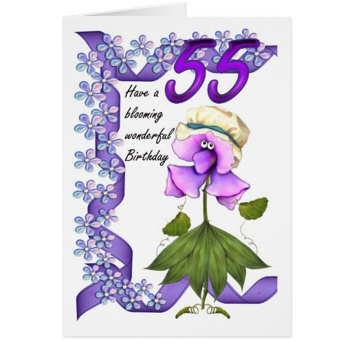 55th Birthday Card with Moonies cute bloomers,