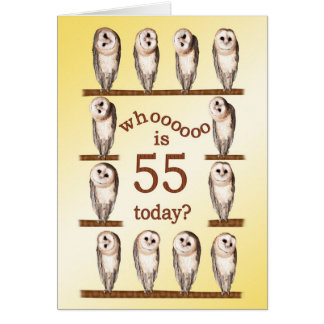 55th birthday, Curious owls card. Card