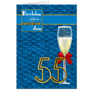 55th Birthday - Geometric Birthday Card Champagne