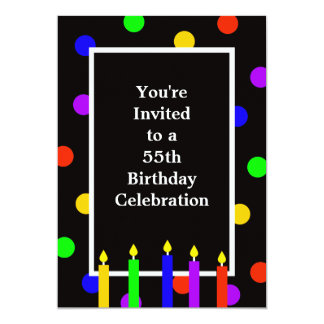 55th Birthday Party Invitation Colorful Candles