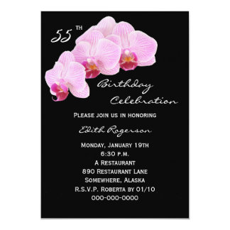 55th Birthday Party Invitation Orchids