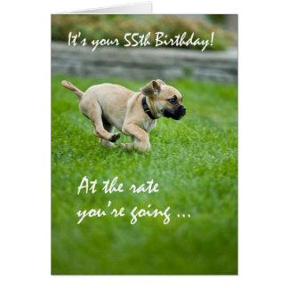 55th Birthday Puppy Running Card