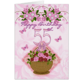 55th Birthday Special Lady, Roses And Flowers - 55 Card