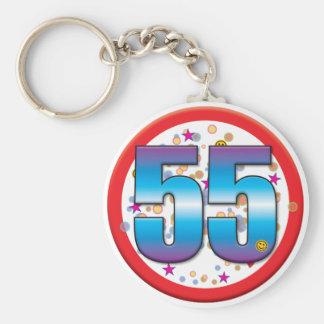 55th Birthday v2 Basic Round Button Key Ring