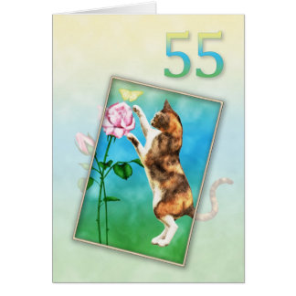 55th Birthday with a playful cat Card