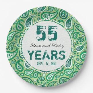 55th Emerald Wedding Anniversary Paisley Pattern Paper Plate