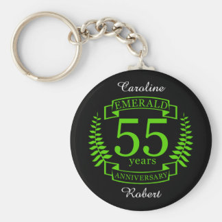 55th Wedding ANNIVERSARY EMERALD Basic Round Button Key Ring