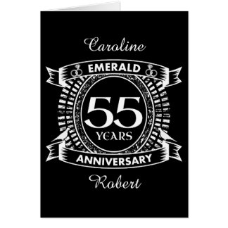 55th wedding anniversary emerald crest card