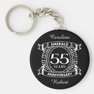 55th wedding anniversary emerald crest key ring