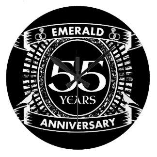 55th wedding anniversary emerald crest large clock