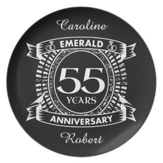 55th wedding anniversary emerald crest plate
