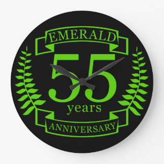 55th Wedding ANNIVERSARY EMERALD Large Clock