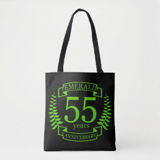 55th Wedding ANNIVERSARY EMERALD Tote Bag