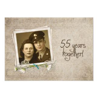 55th Wedding Anniversary Vow Renewal 13 Cm X 18 Cm Invitation Card