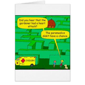 561 Garden maze heart attack cartoon Cards