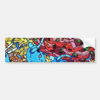 569 GRAFFITI GANGSTER COLOURFUL CITY WALL BACKGROU BUMPER STICKER