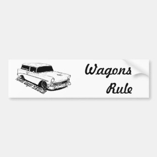 56 Chevy BelAir Station Wagon, Black & White Bumper Sticker