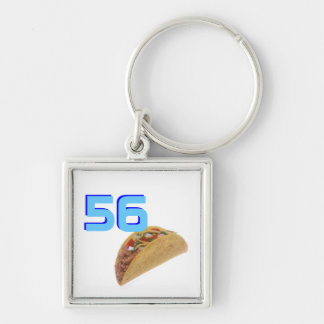 56 Tacos Silver-Colored Square Key Ring