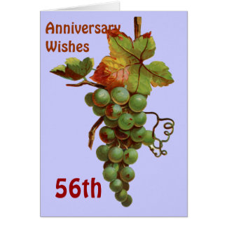 56th Anniversary wishes, customiseable Greeting Card
