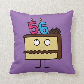 56th Birthday Cake with Candles Cushion