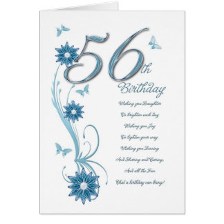 56th birthday in teal with flowers and butterfly card