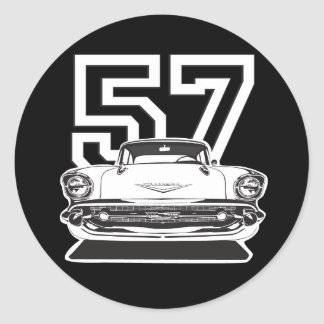 57 Bel Air Classic Round Sticker