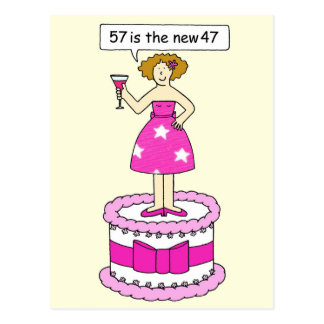 57 is the new 37 birthday humour for her. postcard