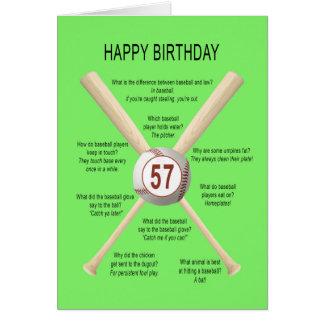 57th birthday baseball jokes greeting card